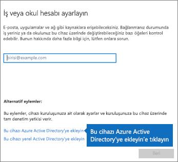 Bu cihazı Azure Active Directory'ye ekleyin seçeneğine tıklayın