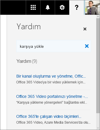 Karşıya Yükleme sözcükleri için arama sonuçlarının görüntülendiği Office 365 Video Yardım bölmesinin ekran görüntüsü.