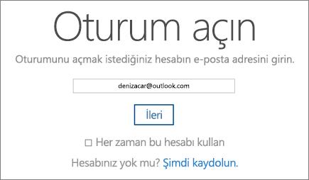 OneDrive Oturum Açma sayfasının ekran görüntüsü.