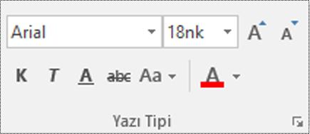 Visio'da yazı tipi türü düğmesi.