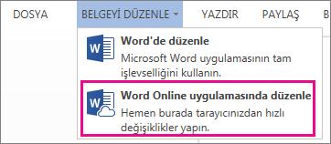 Word Web App'te Düzenle komutunun görüntüsü