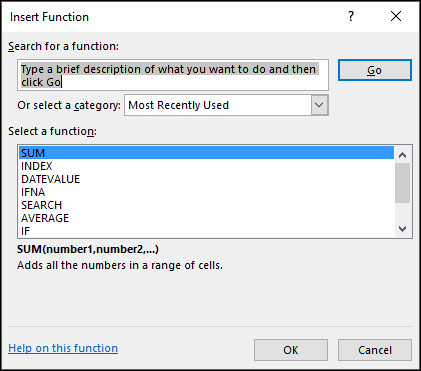 Excel Formülleri - İşlev Ekle iletişim kutusu