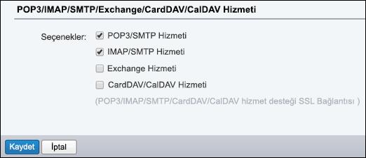 POP3/SMTP ve IMAP/SMTP 'yi seçin.