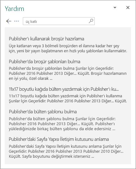 Üç katlı sözcükleri için arama sonuçlarının görüntülendiği Publisher 2016 Yardım bölmesinin ekran görüntüsü.