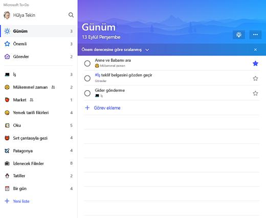 Microsoft To-Do'daki liste kenar çubuğu ve Günüm listesini gösteren ekran görüntüsü