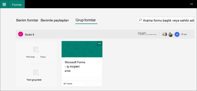 Microsoft Forms grup formları sekmesi