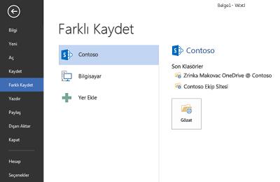 OneDrive İş ve SharePoint sitesinin Yer olarak eklendiğini gösteren Kaydet ekranı