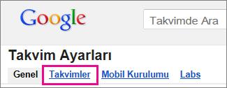google takvim - Takvimler'i tıklatın