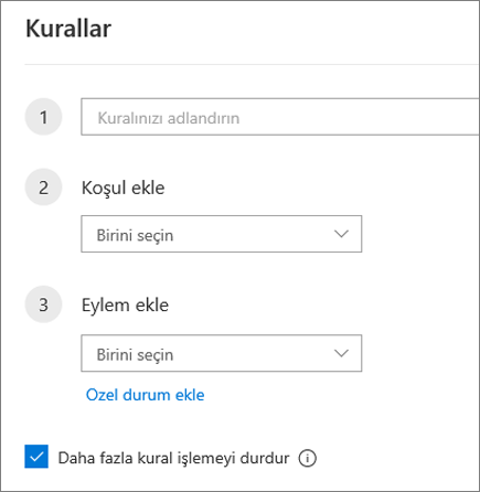 Web üzerinde Outlook'ta yeni kural oluşturma