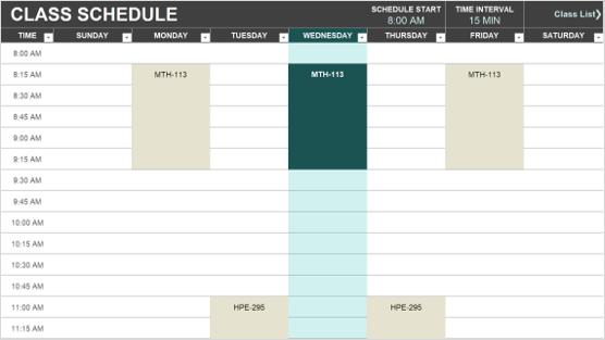 Sınıf zamanlama şablonunun görüntüsü