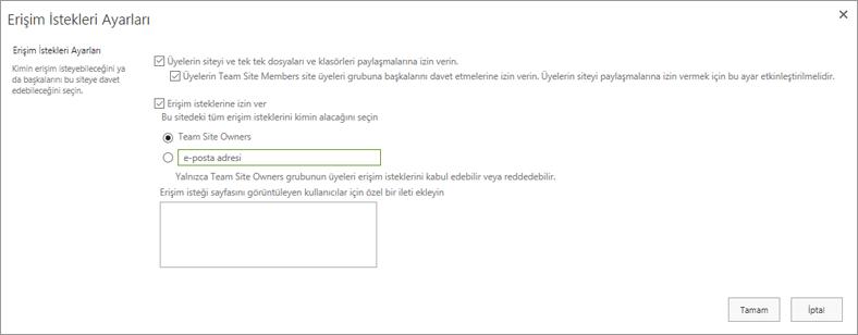Erişim İstekleri iletişim kutusunun ekran görüntüsü
