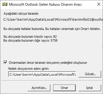 Microsoft Gelen Kutusu Onarma aracı (SANPST.EXE) kullanılarak taranan Outlook .pst veri dosyasının sonuçlarını gösterir