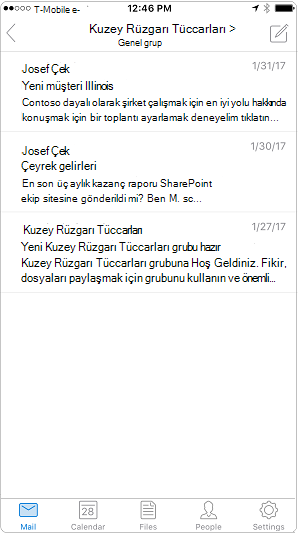 Outlook mobil uygulamasında konuşma görünümü