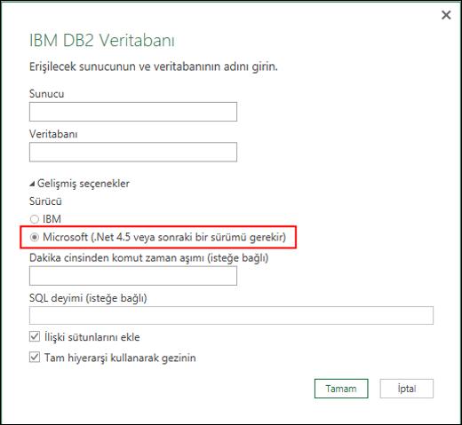 Excel Power BI IBM DB2 Veritabanı bağlayıcısı iletişim kutusu