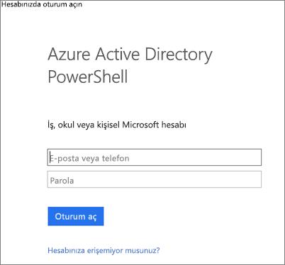 Azure Active Directory yönetici kimlik bilgilerinizi girin