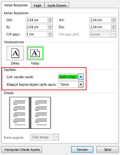 Sayfalar'ın altındaki Kenar Boşlukları sekmesinde, Birden fazla sayfa ayarını Katlı kitap olarak değiştirin. Yönlendirme Yatay olarak değiştirilir.