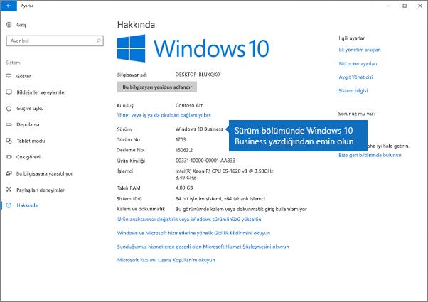 Windows sürümünün, Windows 10 Business olduğundan emin olun.