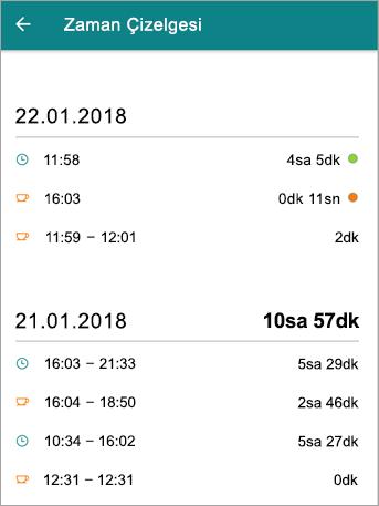 Bir çalışanın çizelgesini StaffHub mobil uygulama nasıl göründüğüne budur.