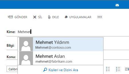 Outlook Web App Otomatik Tamamlama Listesi