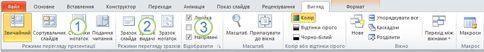 вкладка «вигляд» на стрічці у програмі powerpoint 2010.