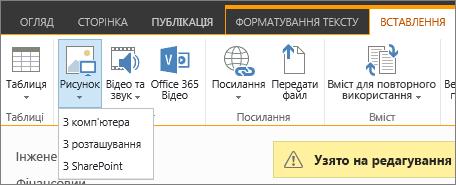 """Кнопка """"Вставити рисунок"""", під якою розташовано меню параметрів джерела."""