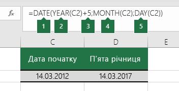 Обчислення дати на основі іншої дати