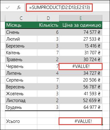 Формула в клітинці E15 повертає помилку #VALUE!, оскільки в стовпці E міститься значення помилки #VALUE!.