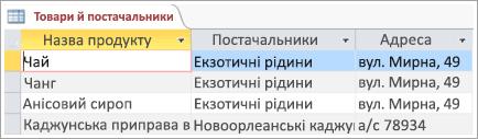 Фрагмент екрана даних продуктів і постачальників