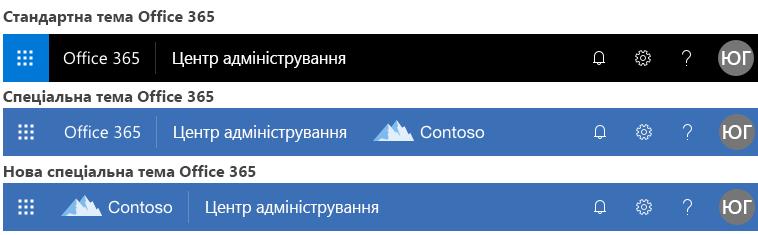 Приклад змінення теми служби Office365
