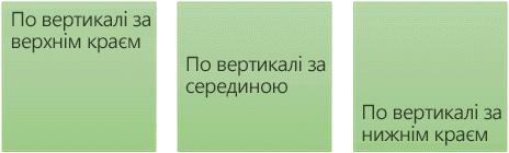 """Три параметри вертикального вирівнювання тексту: """"За верхнім краєм"""", """"Посередині"""" та """"За нижнім краєм"""""""