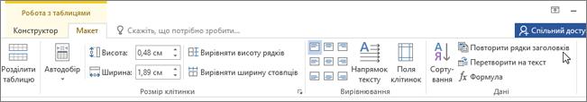 Знімок екрана показано вказівником миші, наведеним параметр для повторення заголовка рядків у робота з таблицями на вкладці Макет у групі дані.