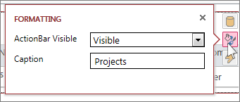 Діалогове вікно ''Форматування'' вікна табличного веб-подання даних