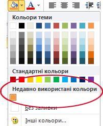параметр «недавно використані кольори»