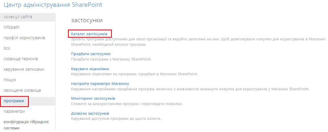 Знімок екрана: категорії програм у Центрі адміністрування SharePoint