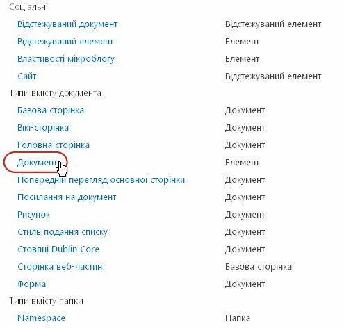 типи вмісту документу з виділеним типом