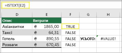 Клітинка F2 з формулою =ISTEXT(E2) і результатом TRUE