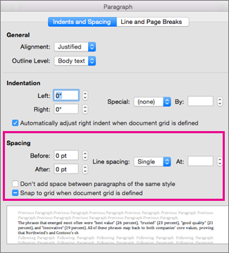 In the Paragraph dialog box, the Spacing section is highlighted