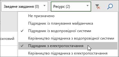 Знімок екрана: розкривний список фільтрування ресурсів на дошці завдань із двома вибраними елементами