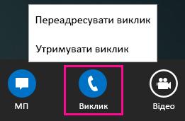 Знімок екрана: меню переадресації виклику в програмі Lync