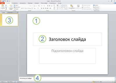 """Робоча область (або подання """"Звичайний"""") у PowerPoint2010 із чотирма підписаними областями."""
