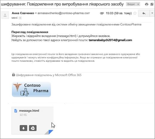 Відкриття вкладення message.html