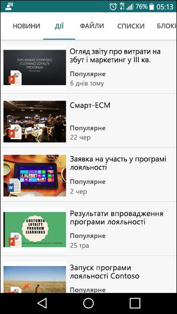 Вигляд сайту групи SharePoint на мобільному пристрої