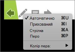 Знімок екрана: варіанти, доступні для вказівника, що використовується в показі слайдів. Варіанти – це Автоматична, прихована, стрілка, Перо та колір пера.