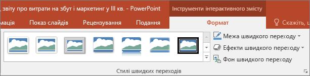 """Різні стилі та ефекти швидких переходів, які можна вибрати на вкладці """"Формат"""" у програмі PowerPoint."""