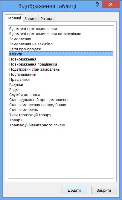 """Діалогове вікно """"Відображення таблиці"""" в програмі Access з відображеними іменами таблиць"""