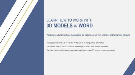Знімок екрана: титульна сторінка шаблону Word, присвяченого роботі з тривимірними об'єктами