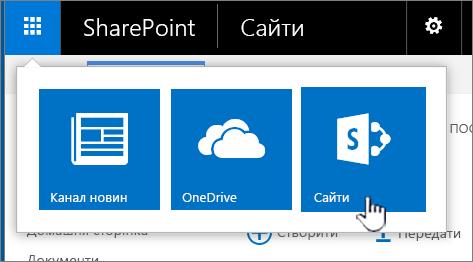 """Запускач програм SharePoint із виділеним пунктом """"Сайти"""""""