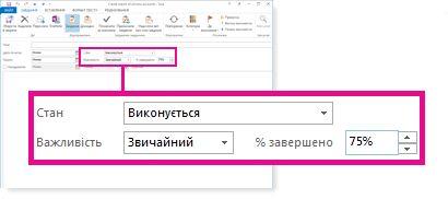 Властивості «Стан», «Важливість» і «% завершено» у вікні повідомлення «Оновлення стану»