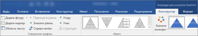 Вкладки Знаряддя для рисунків SmartArt, макет і формат