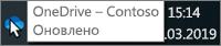 """Знімок екрана: курсор миші наведено на синю піктограму OneDrive, відображається текст """"OneDrive– Contoso"""""""